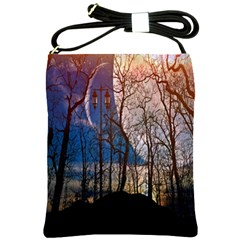 Full Moon Forest Night Darkness Shoulder Sling Bags