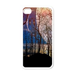 Full Moon Forest Night Darkness Apple iPhone 4 Case (White)