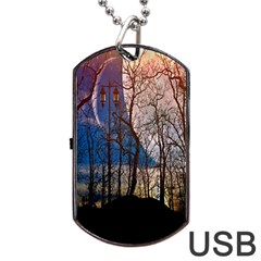 Full Moon Forest Night Darkness Dog Tag Usb Flash (one Side)