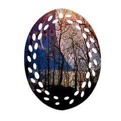 Full Moon Forest Night Darkness Oval Filigree Ornament (two Sides)