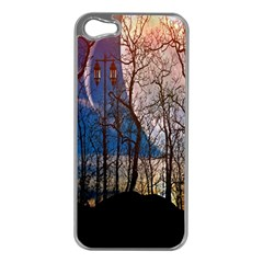 Full Moon Forest Night Darkness Apple iPhone 5 Case (Silver)