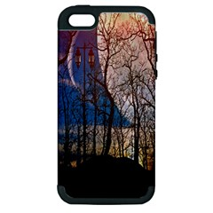 Full Moon Forest Night Darkness Apple Iphone 5 Hardshell Case (pc+silicone)