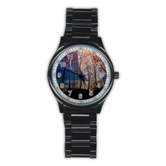 Full Moon Forest Night Darkness Stainless Steel Round Watch