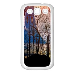 Full Moon Forest Night Darkness Samsung Galaxy S3 Back Case (White)