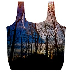Full Moon Forest Night Darkness Full Print Recycle Bags (l)
