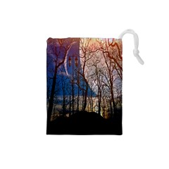 Full Moon Forest Night Darkness Drawstring Pouches (small)