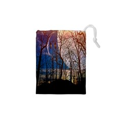 Full Moon Forest Night Darkness Drawstring Pouches (XS)