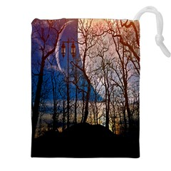 Full Moon Forest Night Darkness Drawstring Pouches (XXL)