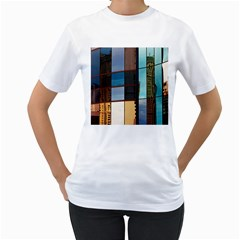 Glass Facade Colorful Architecture Women s T-Shirt (White) (Two Sided)