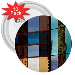 Glass Facade Colorful Architecture 3  Buttons (10 pack)