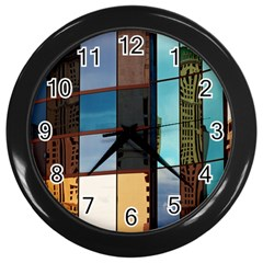 Glass Facade Colorful Architecture Wall Clocks (black)