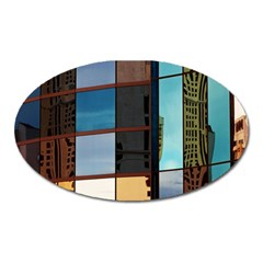 Glass Facade Colorful Architecture Oval Magnet