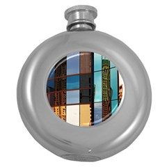 Glass Facade Colorful Architecture Round Hip Flask (5 oz)