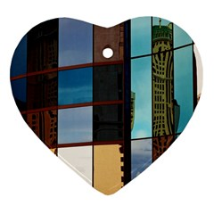 Glass Facade Colorful Architecture Heart Ornament (Two Sides)