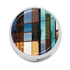 Glass Facade Colorful Architecture 4-Port USB Hub (Two Sides)