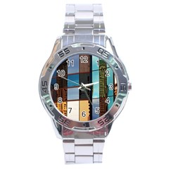 Glass Facade Colorful Architecture Stainless Steel Analogue Watch