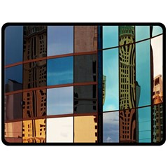 Glass Facade Colorful Architecture Double Sided Fleece Blanket (Large)