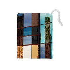 Glass Facade Colorful Architecture Drawstring Pouches (medium)