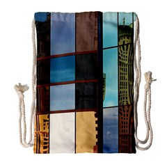 Glass Facade Colorful Architecture Drawstring Bag (Large)