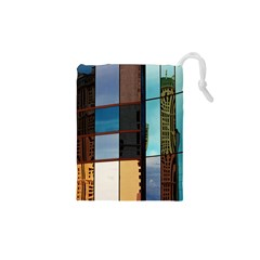 Glass Facade Colorful Architecture Drawstring Pouches (XS)