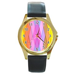 Graphics Colorful Color Wallpaper Round Gold Metal Watch