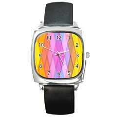 Graphics Colorful Color Wallpaper Square Metal Watch
