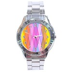 Graphics Colorful Color Wallpaper Stainless Steel Analogue Watch Front