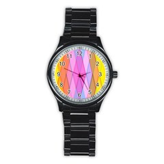 Graphics Colorful Color Wallpaper Stainless Steel Round Watch