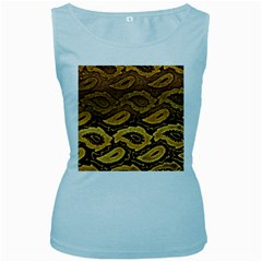Golden Patterned Paper Women s Baby Blue Tank Top