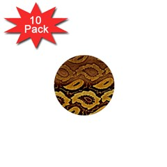 Golden Patterned Paper 1  Mini Buttons (10 pack)
