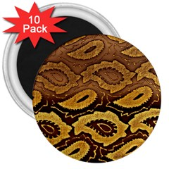 Golden Patterned Paper 3  Magnets (10 pack)