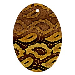 Golden Patterned Paper Oval Ornament (Two Sides)