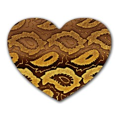 Golden Patterned Paper Heart Mousepads