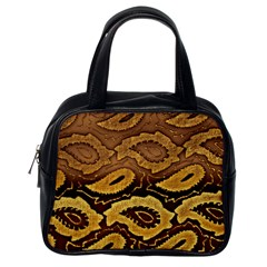 Golden Patterned Paper Classic Handbags (One Side)