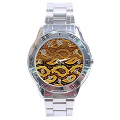 Golden Patterned Paper Stainless Steel Analogue Watch