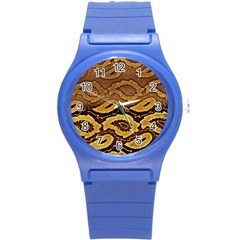 Golden Patterned Paper Round Plastic Sport Watch (S)
