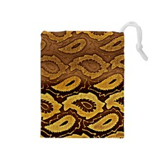 Golden Patterned Paper Drawstring Pouches (medium)