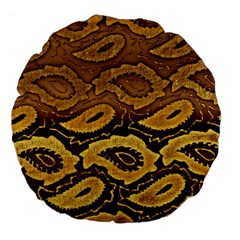 Golden Patterned Paper Large 18  Premium Flano Round Cushions