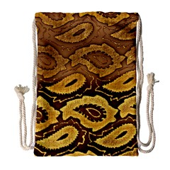 Golden Patterned Paper Drawstring Bag (Large)