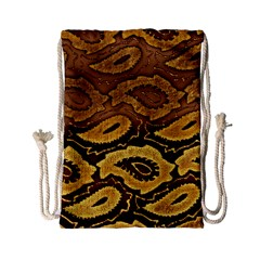 Golden Patterned Paper Drawstring Bag (small)