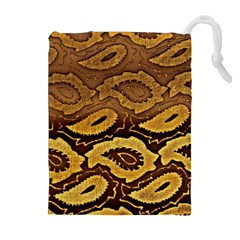 Golden Patterned Paper Drawstring Pouches (Extra Large)
