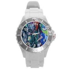 Graffiti Art Urban Design Paint Round Plastic Sport Watch (l)
