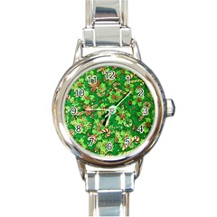 Green Holly Round Italian Charm Watch