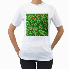 Green Holly Women s T-Shirt (White) (Two Sided)