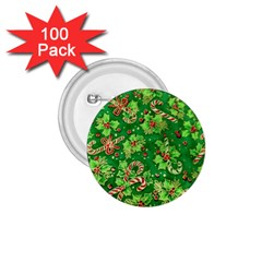 Green Holly 1 75  Buttons (100 Pack)