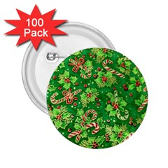 Green Holly 2 25  Buttons (100 Pack)
