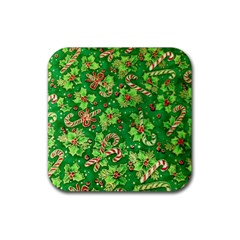 Green Holly Rubber Square Coaster (4 pack)