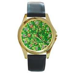 Green Holly Round Gold Metal Watch