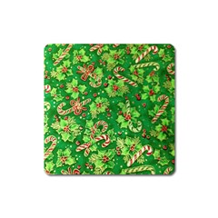 Green Holly Square Magnet