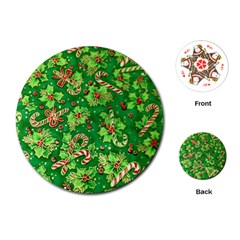 Green Holly Playing Cards (Round)